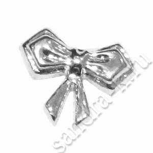 Декоративный серебряный бантик BW-06