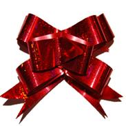 Бант-бабочка 12 мм голографический красный