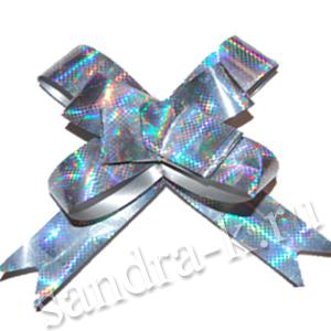 Бант-бабочка серебряный голографический большой