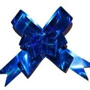 Бант-бабочка синий голографический большой