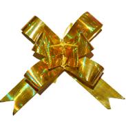 Бант-бабочка золотой голографический большой