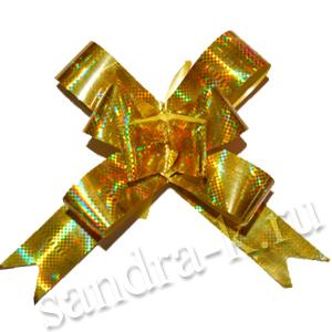 Бант-бабочка 18 мм голографический золотой
