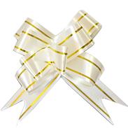 Бант-бабочка 18 мм с золотой полосой белый