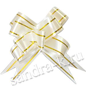 Бант-бабочка 30 мм с золотой полосой белый