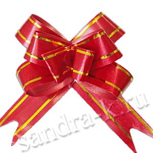 Бант-бабочка 30 мм с золотой полосой красный