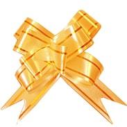 Бант-бабочка 23 мм с золотой полосой оранжевый