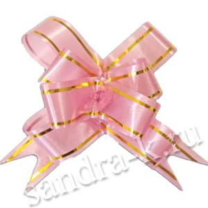 Бант-бабочка 30 мм с золотой полосой розовый