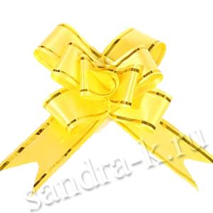 Бант-бабочка 30 мм с золотой полосой желтый