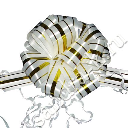 Бант-шар 32В с тремя золотыми полосами белый