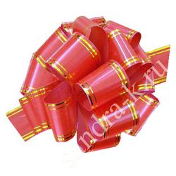 Бант-шар красный с золотой полосой 50В