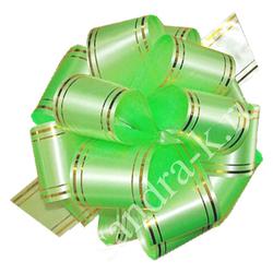 Бант-шар 32В c золотой полосой светло-зеленый