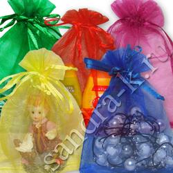 Мешочки из органзы 18-23 см однотонные 5 цветов МИКС
