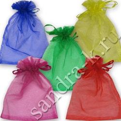 Мешочки из органзы  9-12 см однотонные 5 цветов МИКС