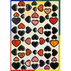 Наклейка сердечки металл. 38705