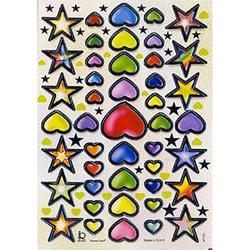 Наклейка сердца и звезды металл. 47191