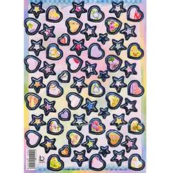 Наклейка сердца и звезды металл. 510100