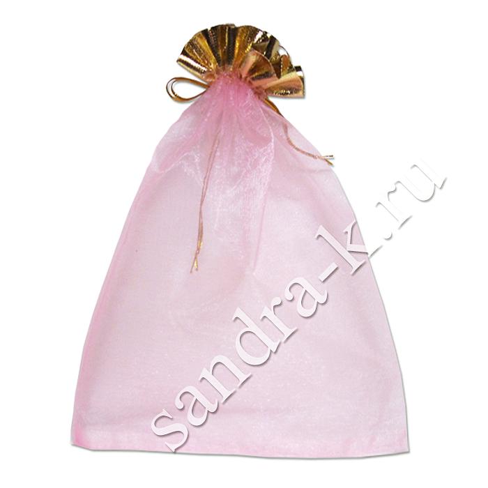 Мешочек для подарков розовый 20-30 см с золотой каймой