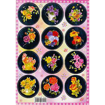 Наклейка цветы металл. 47024