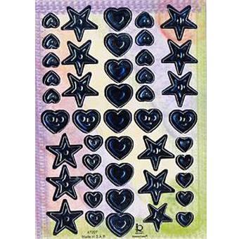 Наклейка сердца и звезды металл. 47207