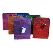 Сумки 12-15-6,5 см голографические бумажные МИКС G1084